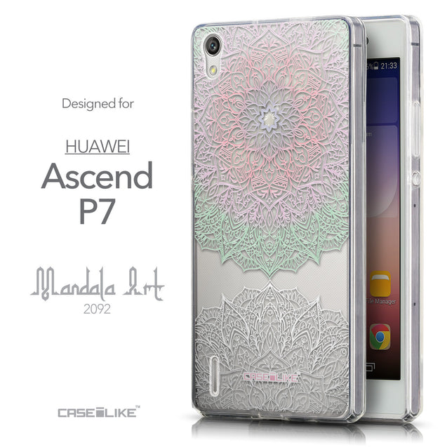 Front & Side View - CASEiLIKE Huawei Ascend P7 back cover Mandala Art 2092