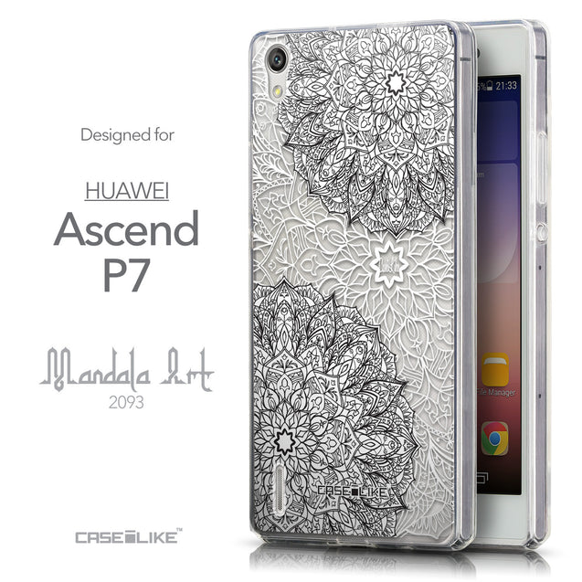 Front & Side View - CASEiLIKE Huawei Ascend P7 back cover Mandala Art 2093