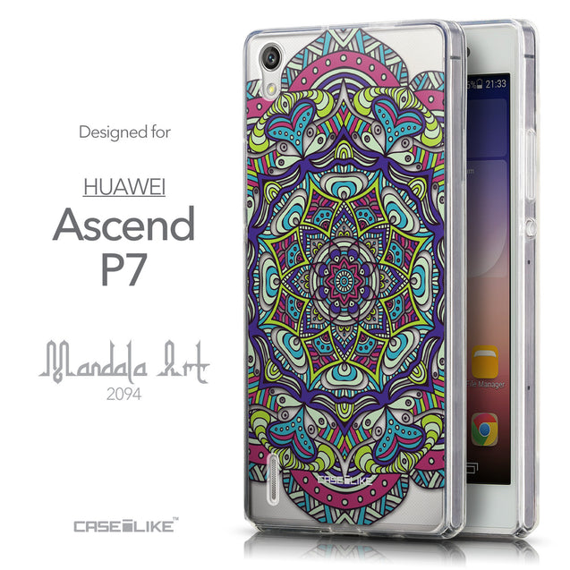Front & Side View - CASEiLIKE Huawei Ascend P7 back cover Mandala Art 2094