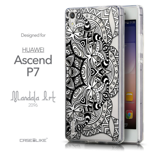 Front & Side View - CASEiLIKE Huawei Ascend P7 back cover Mandala Art 2096
