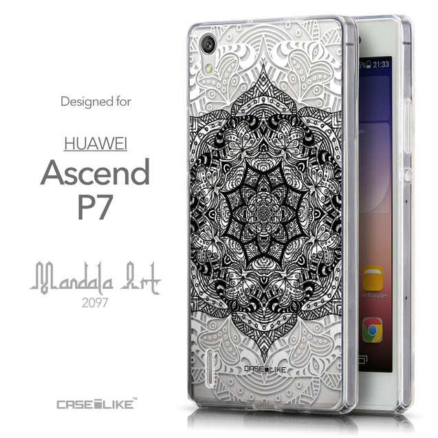 Front & Side View - CASEiLIKE Huawei Ascend P7 back cover Mandala Art 2097