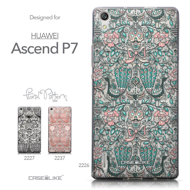 Collection - CASEiLIKE Huawei Ascend P7 back cover Roses Ornamental Skulls Peacocks 2226
