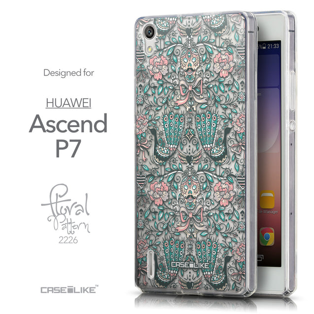 Front & Side View - CASEiLIKE Huawei Ascend P7 back cover Roses Ornamental Skulls Peacocks 2226