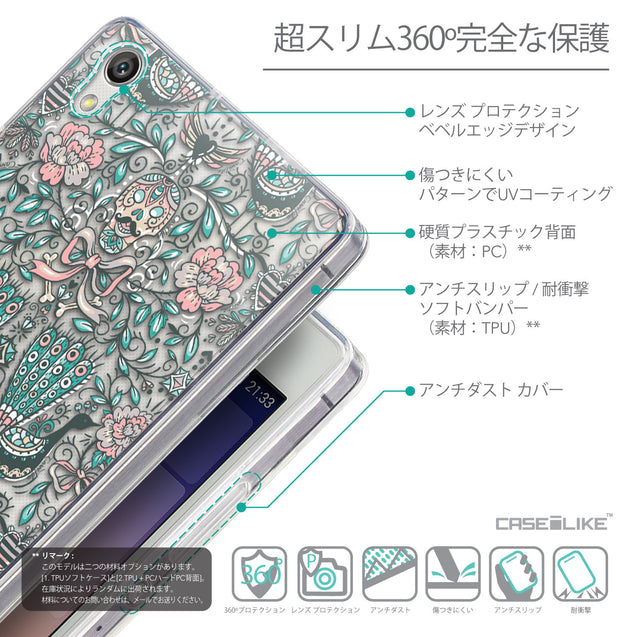 Details in Japanese - CASEiLIKE Huawei Ascend P7 back cover Roses Ornamental Skulls Peacocks 2226