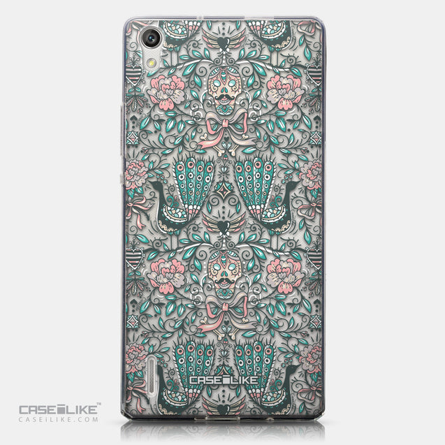 CASEiLIKE Huawei Ascend P7 back cover Roses Ornamental Skulls Peacocks 2226