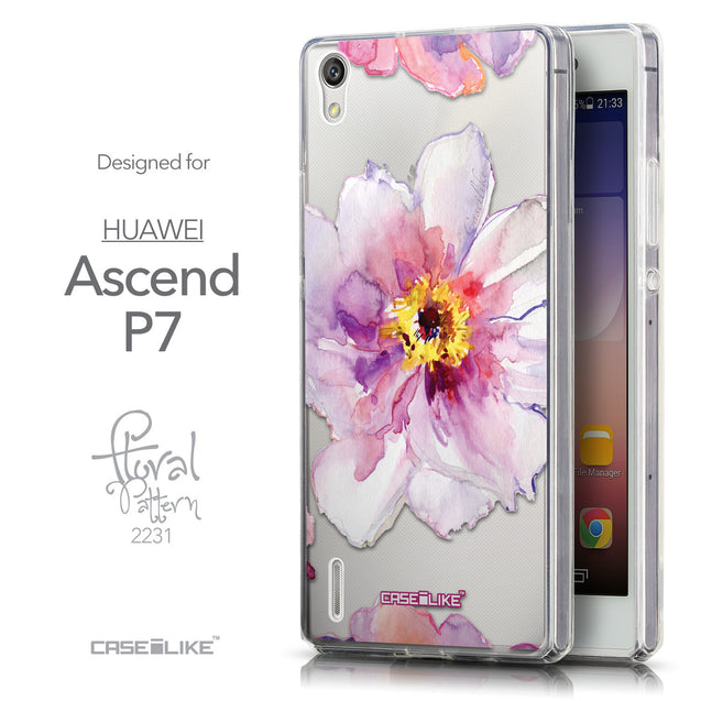 Front & Side View - CASEiLIKE Huawei Ascend P7 back cover Watercolor Floral 2231