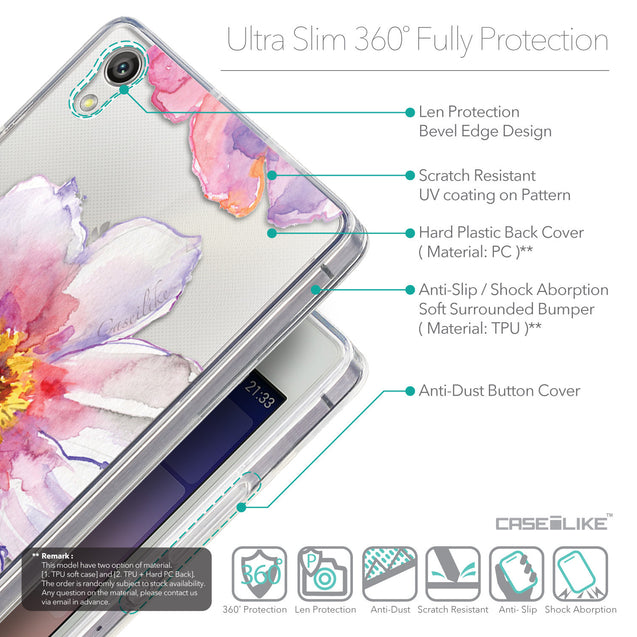 Details in English - CASEiLIKE Huawei Ascend P7 back cover Watercolor Floral 2231