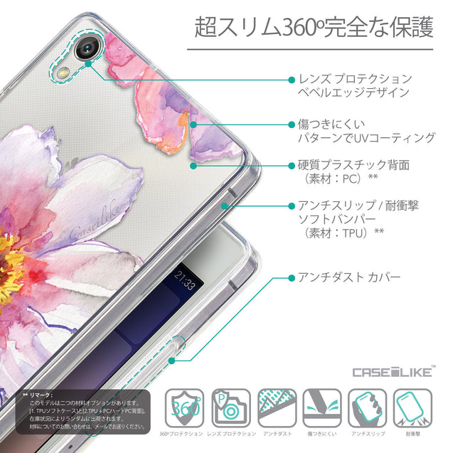 Details in Japanese - CASEiLIKE Huawei Ascend P7 back cover Watercolor Floral 2231