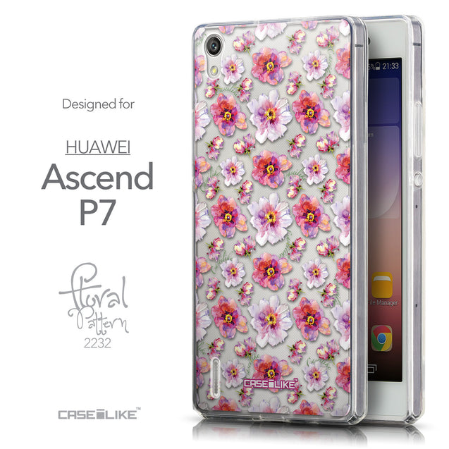Front & Side View - CASEiLIKE Huawei Ascend P7 back cover Watercolor Floral 2232