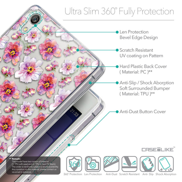 Details in English - CASEiLIKE Huawei Ascend P7 back cover Watercolor Floral 2232