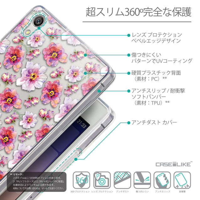 Details in Japanese - CASEiLIKE Huawei Ascend P7 back cover Watercolor Floral 2232