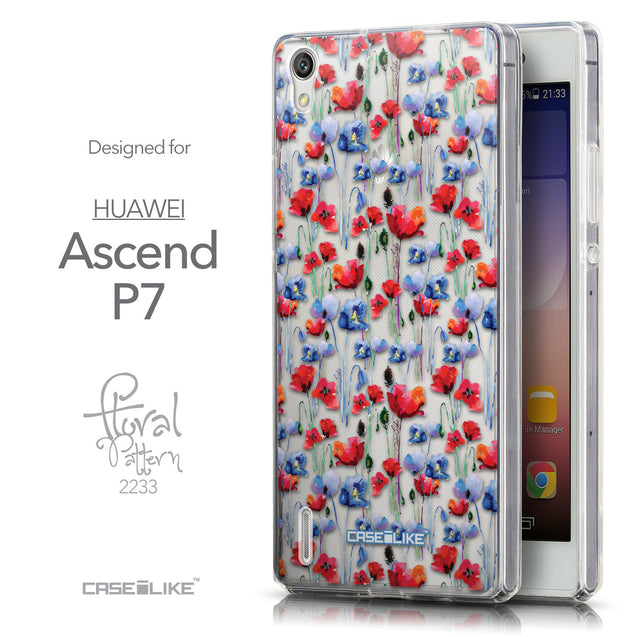 Front & Side View - CASEiLIKE Huawei Ascend P7 back cover Watercolor Floral 2233