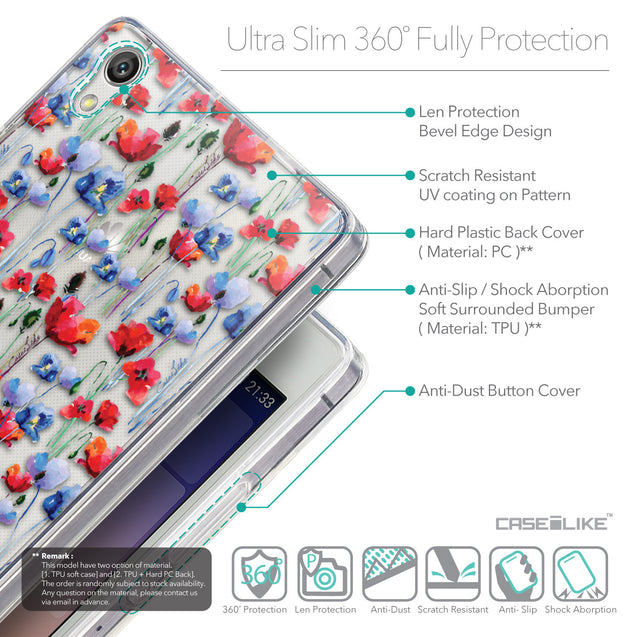 Details in English - CASEiLIKE Huawei Ascend P7 back cover Watercolor Floral 2233