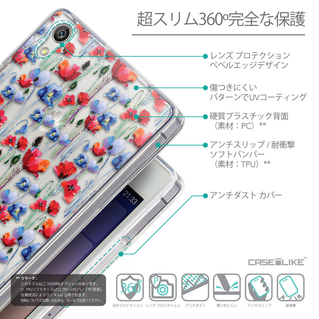 Details in Japanese - CASEiLIKE Huawei Ascend P7 back cover Watercolor Floral 2233