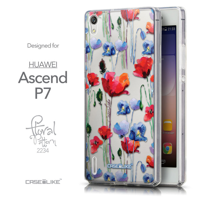 Front & Side View - CASEiLIKE Huawei Ascend P7 back cover Indian Line Art 2061