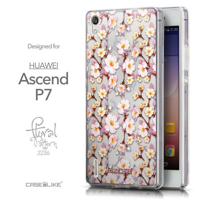 Front & Side View - CASEiLIKE Huawei Ascend P7 back cover Watercolor Floral 2236