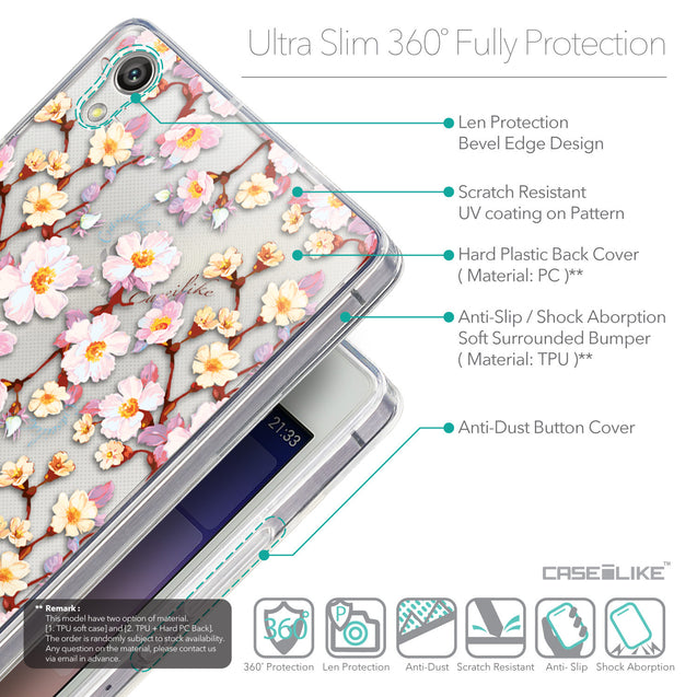 Details in English - CASEiLIKE Huawei Ascend P7 back cover Watercolor Floral 2236