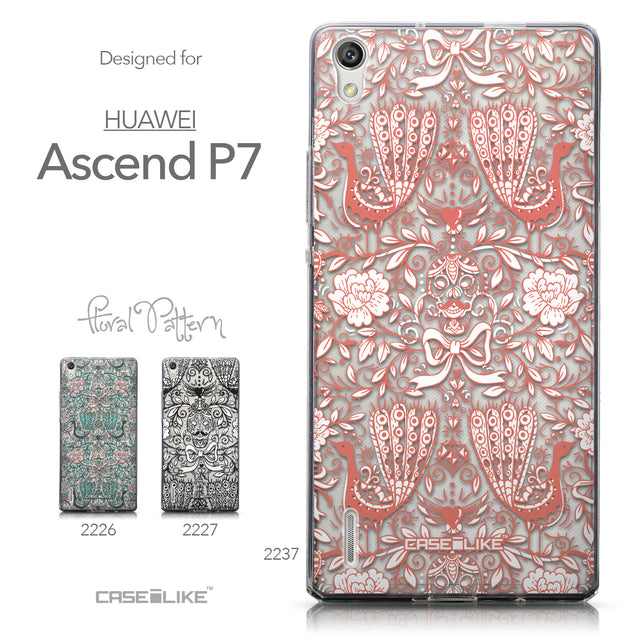 Collection - CASEiLIKE Huawei Ascend P7 back cover Roses Ornamental Skulls Peacocks 2237