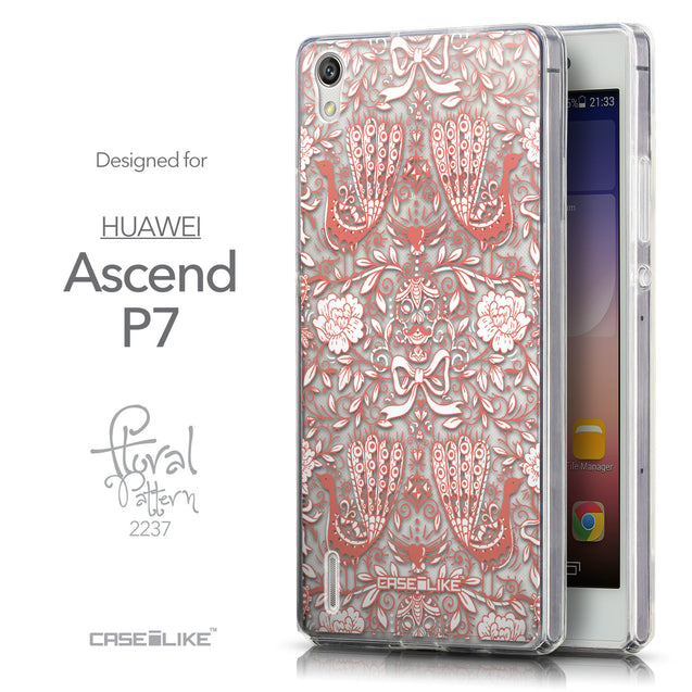 Front & Side View - CASEiLIKE Huawei Ascend P7 back cover Roses Ornamental Skulls Peacocks 2237