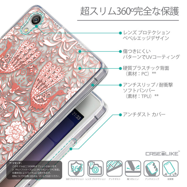 Details in Japanese - CASEiLIKE Huawei Ascend P7 back cover Roses Ornamental Skulls Peacocks 2237