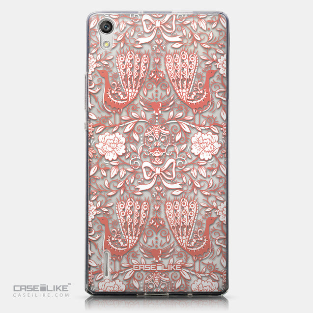 CASEiLIKE Huawei Ascend P7 back cover Roses Ornamental Skulls Peacocks 2237