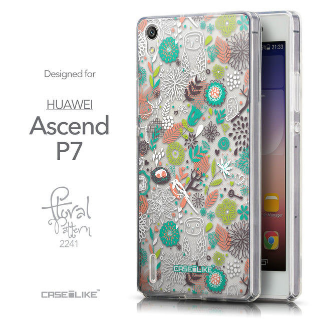 Front & Side View - CASEiLIKE Huawei Ascend P7 back cover Spring Forest White 2241