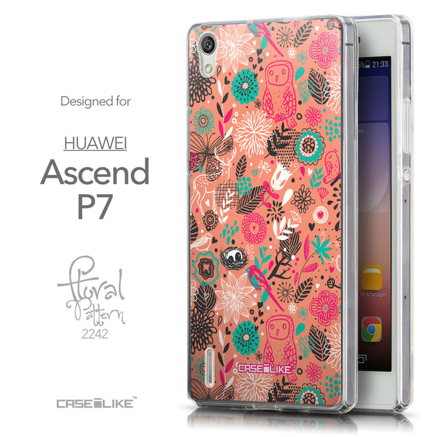 Front & Side View - CASEiLIKE Huawei Ascend P7 back cover Spring Forest Pink 2242