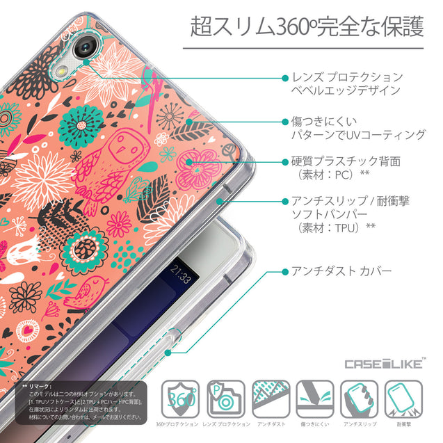 Details in Japanese - CASEiLIKE Huawei Ascend P7 back cover Spring Forest Pink 2242