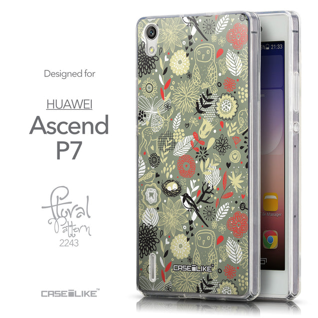 Front & Side View - CASEiLIKE Huawei Ascend P7 back cover Spring Forest Gray 2243