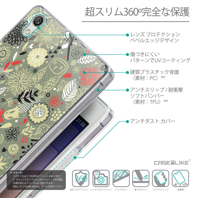 Details in Japanese - CASEiLIKE Huawei Ascend P7 back cover Spring Forest Gray 2243
