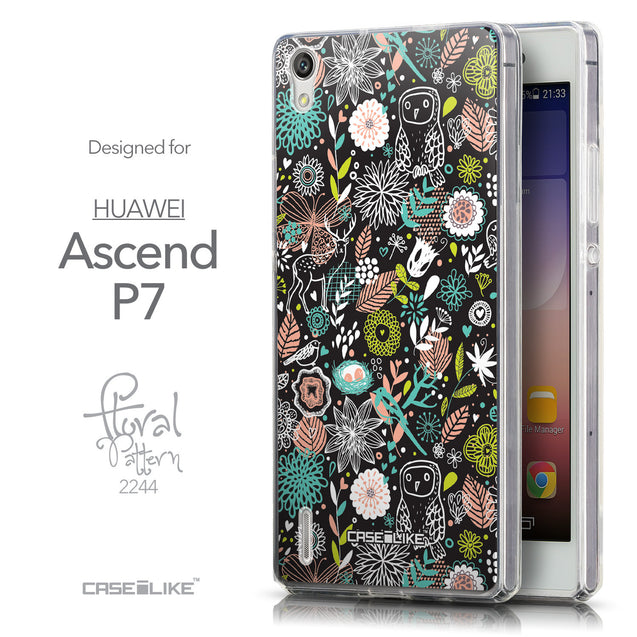 Front & Side View - CASEiLIKE Huawei Ascend P7 back cover Spring Forest Black 2244