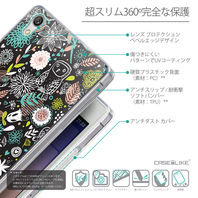Details in Japanese - CASEiLIKE Huawei Ascend P7 back cover Spring Forest Black 2244