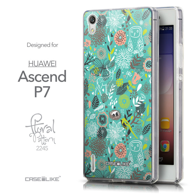 Front & Side View - CASEiLIKE Huawei Ascend P7 back cover Spring Forest Turquoise 2245