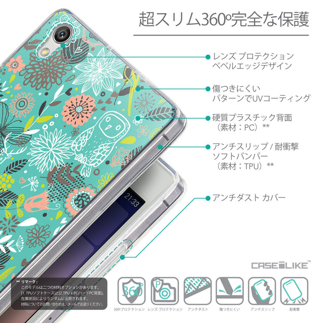 Details in Japanese - CASEiLIKE Huawei Ascend P7 back cover Spring Forest Turquoise 2245