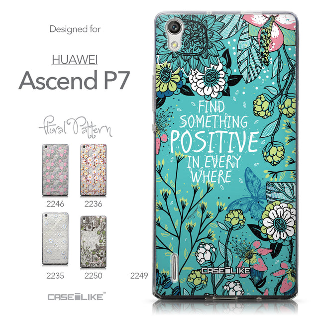 Collection - CASEiLIKE Huawei Ascend P7 back cover Blooming Flowers Turquoise 2249