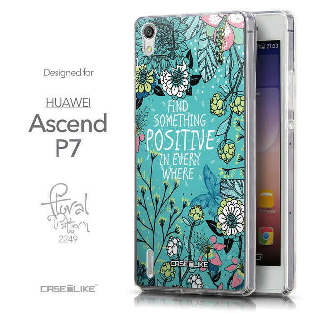 Front & Side View - CASEiLIKE Huawei Ascend P7 back cover Blooming Flowers Turquoise 2249