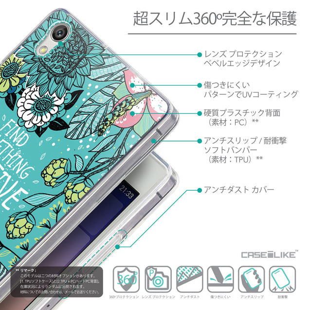 Details in Japanese - CASEiLIKE Huawei Ascend P7 back cover Blooming Flowers Turquoise 2249