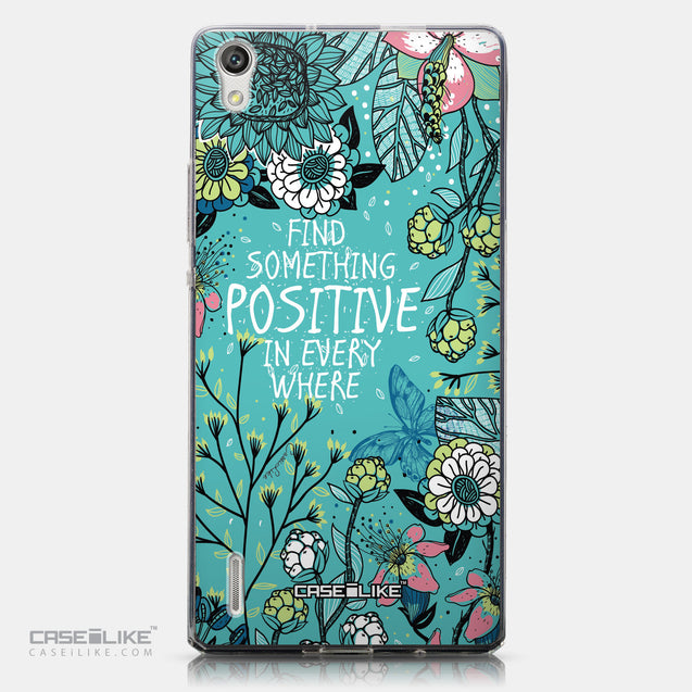 CASEiLIKE Huawei Ascend P7 back cover Blooming Flowers Turquoise 2249