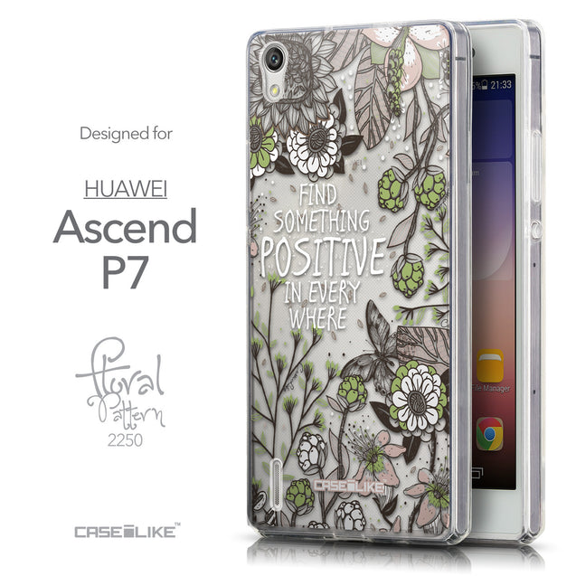 Front & Side View - CASEiLIKE Huawei Ascend P7 back cover Blooming Flowers 2250