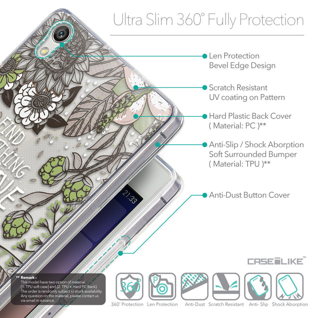 Details in English - CASEiLIKE Huawei Ascend P7 back cover Blooming Flowers 2250