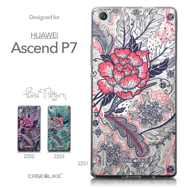 Collection - CASEiLIKE Huawei Ascend P7 back cover Vintage Roses and Feathers Beige 2251