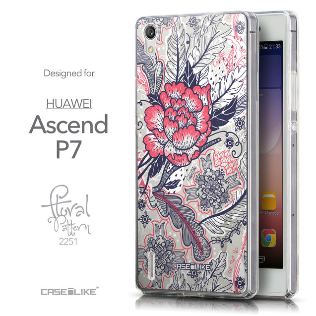 Front & Side View - CASEiLIKE Huawei Ascend P7 back cover Vintage Roses and Feathers Beige 2251