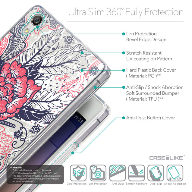Details in English - CASEiLIKE Huawei Ascend P7 back cover Vintage Roses and Feathers Beige 2251