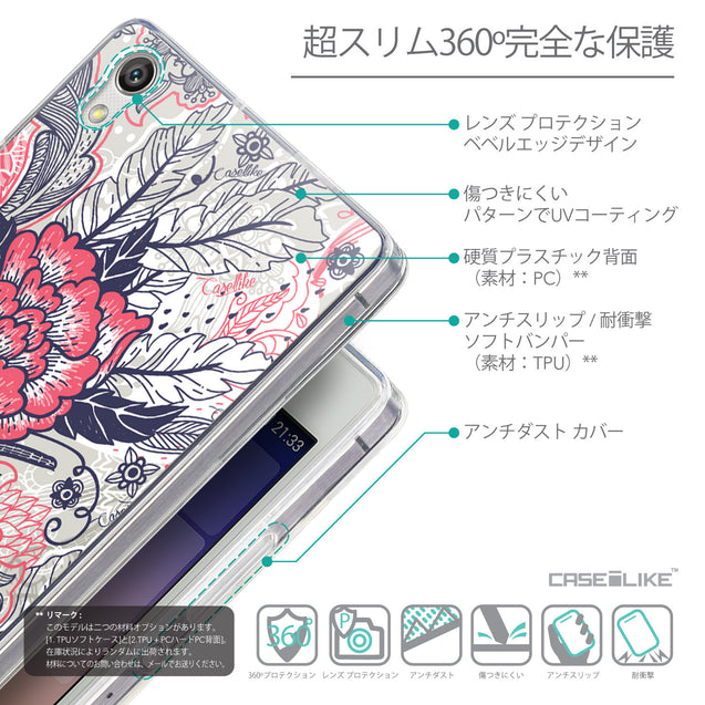 Details in Japanese - CASEiLIKE Huawei Ascend P7 back cover Vintage Roses and Feathers Beige 2251