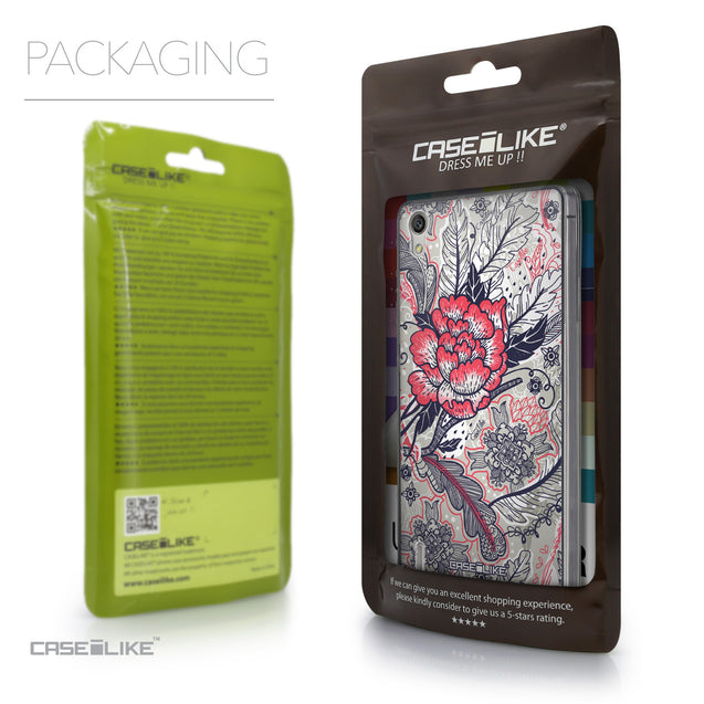 Packaging - CASEiLIKE Huawei Ascend P7 back cover Vintage Roses and Feathers Beige 2251
