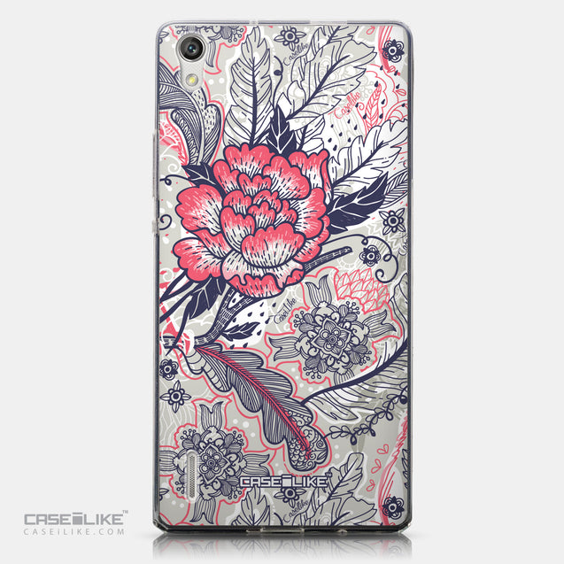 CASEiLIKE Huawei Ascend P7 back cover Vintage Roses and Feathers Beige 2251