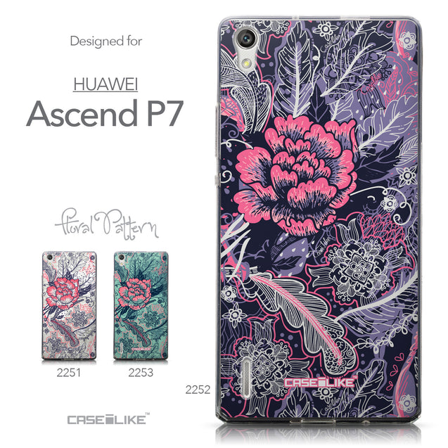 Collection - CASEiLIKE Huawei Ascend P7 back cover Vintage Roses and Feathers Blue 2252