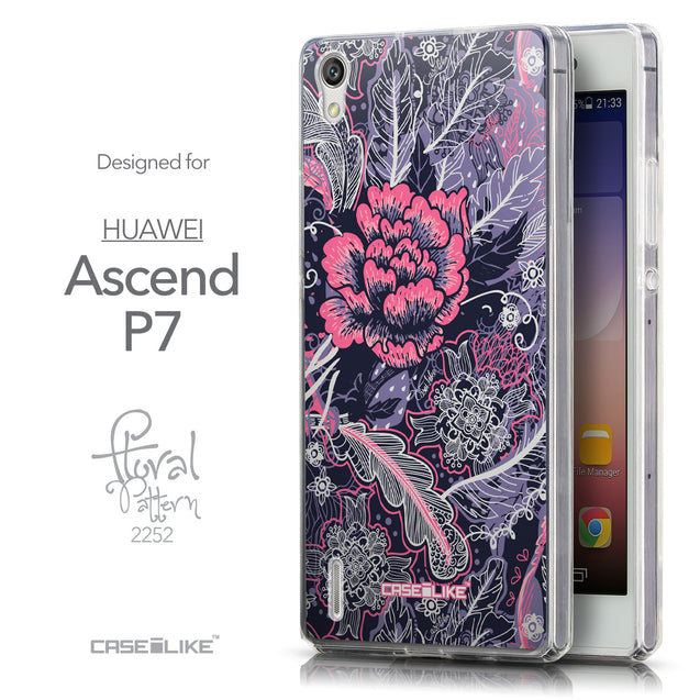 Front & Side View - CASEiLIKE Huawei Ascend P7 back cover Vintage Roses and Feathers Blue 2252