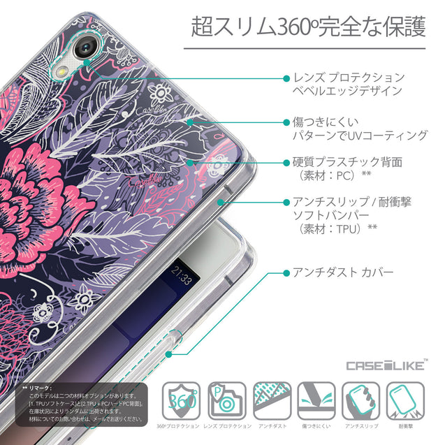 Details in Japanese - CASEiLIKE Huawei Ascend P7 back cover Vintage Roses and Feathers Blue 2252