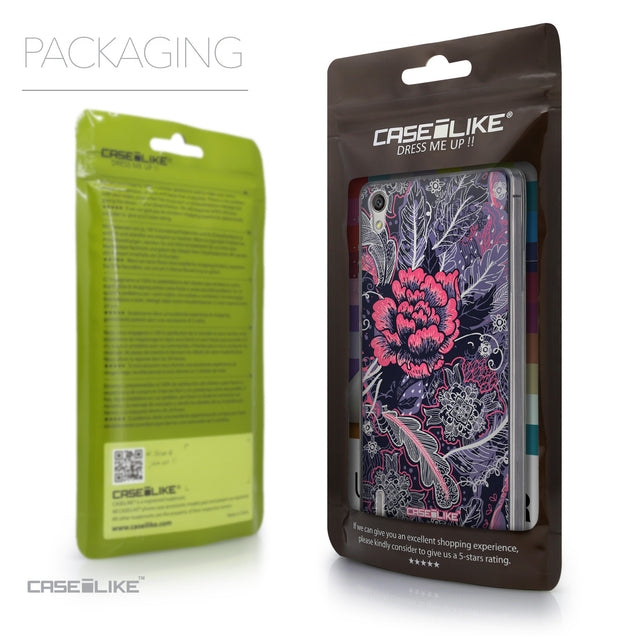 Packaging - CASEiLIKE Huawei Ascend P7 back cover Vintage Roses and Feathers Blue 2252